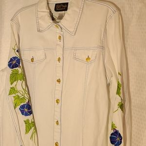 Bob Mackie Wearable Art LS Ladies Shirt LG Floral